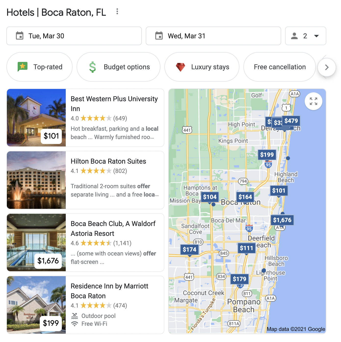 boca raton hotels on the google map